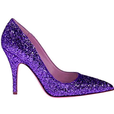 Women's Sparkly Glitter Heels Pointed Toe Pumps Shoes -  Purple
