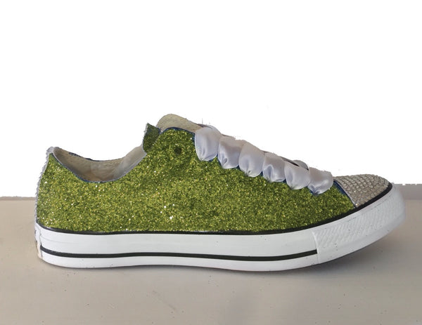 Women's Sparkly Sage Green Glitter Crystals Converse All Stars wedding bride bridal Shoes