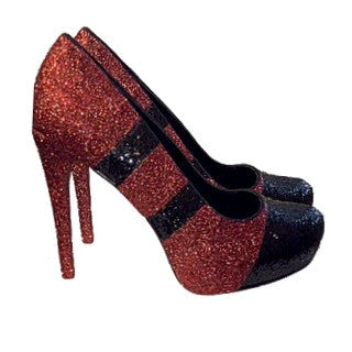 Sparkly Burgundy Maroon Red Glitter Heels wedding bride Football Baseball Sports shoes