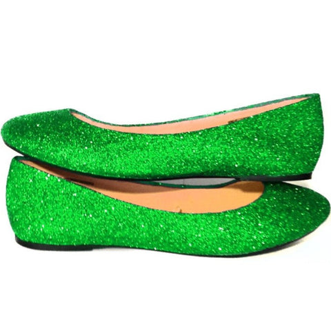 Women's Sparkly Green Glitter BALLET Flats bride wedding shoes prom bridesmaid