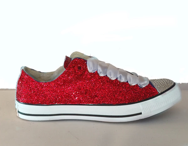 Womens Glitter & Crystals Converse All Stars Red Wedding Bride Prom Graduation Cheerleaders