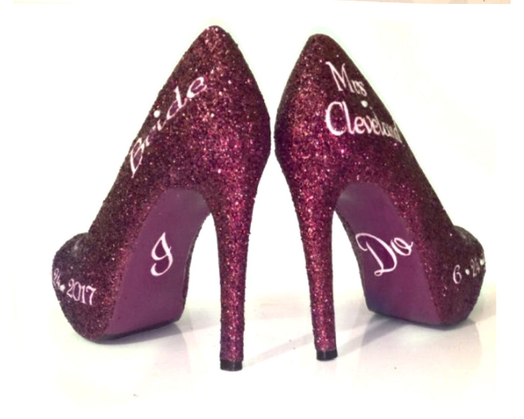 2dc8cb13a7a9 ... Women s Sparkly Burgundy Wine Glitter Heels wedding bride Pumps shoes  Personalized ...