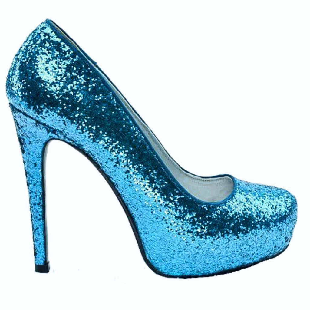 065dc7cbf58d Sparkly Turquoise Blue Glitter Peep Toe high low Heels Wedding bride –  Glitter Shoe Co