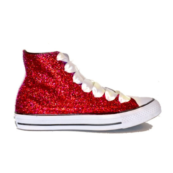 Women's Sparkly Red Glitter Converse All Stars High Top Wedding Bride Prom Shoes sneakers