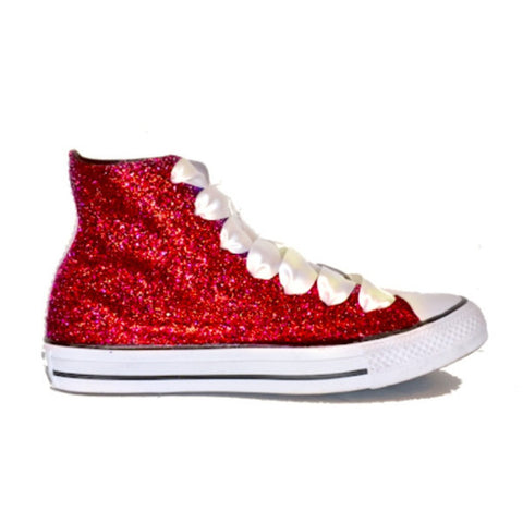 Women s Sparkly Red Glitter Converse All Stars High Top Wedding Bride Prom  Shoes sneakers 6b1a8c736