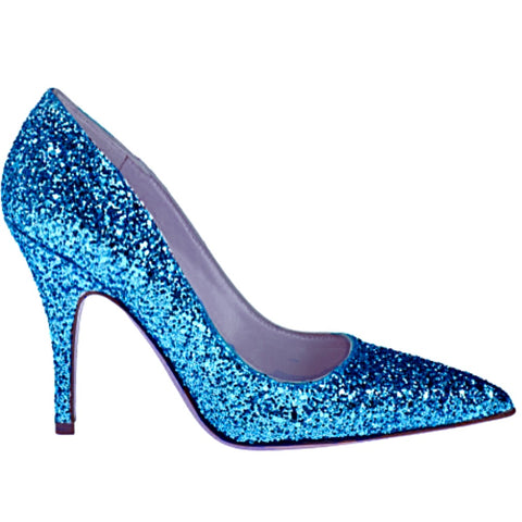 Women's Sparkly Glitter Heels Pointed Toe Pumps Shoes - Turquoise Blue