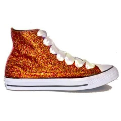 Women's Sparkly Orange Tangerine Glitter Converse All Stars High Top Wedding Bride Shoes sneakers