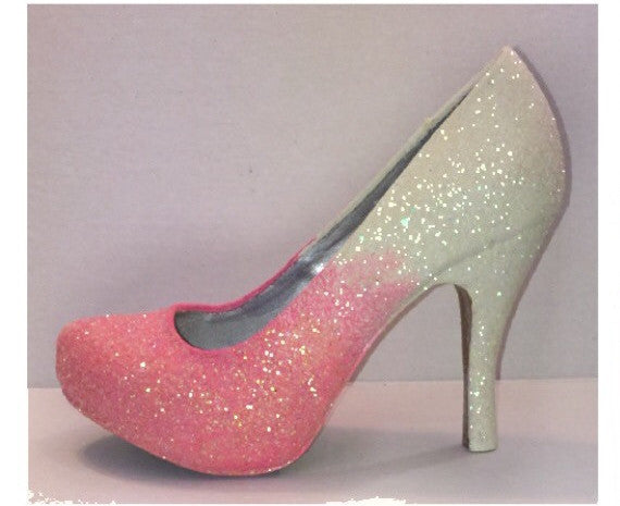 Sparkly Hot Pink Ombre Glitter high & low Heels wedding bride Peep toe Pumps shoes