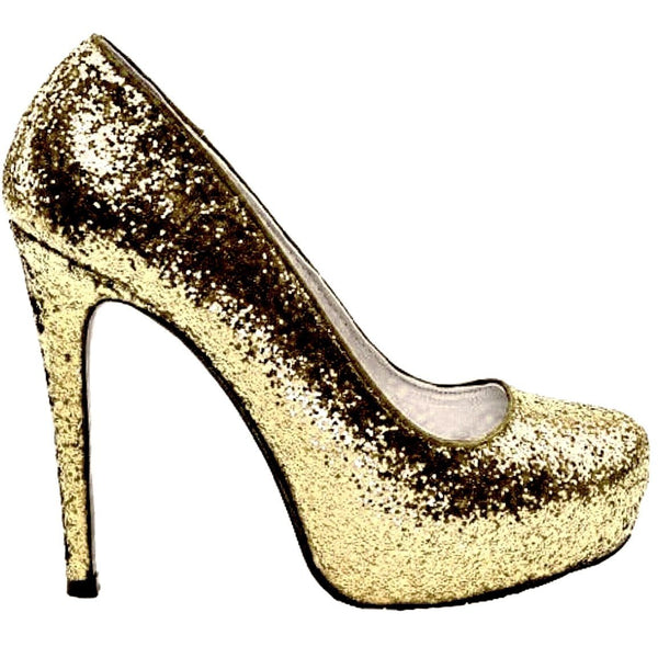 Womens Sparkly Glitter Champagne Gold Peep toe Heels Wedding Bride Shoes