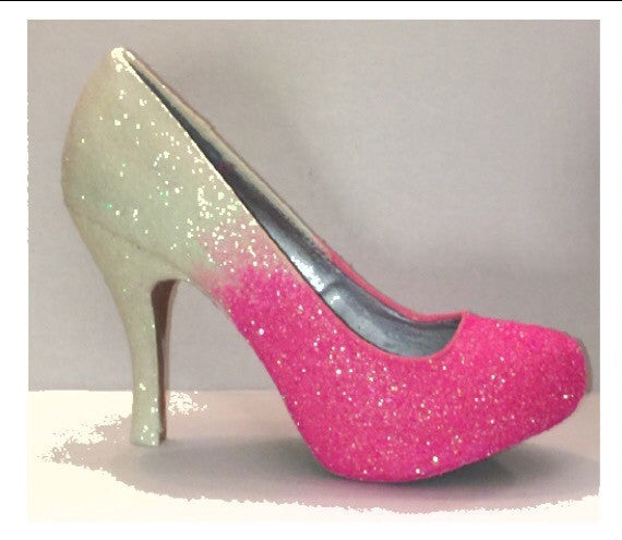 Hot Pink Ombre Glitter Heels wedding bride Prom Sweet 16 Pumps shoes