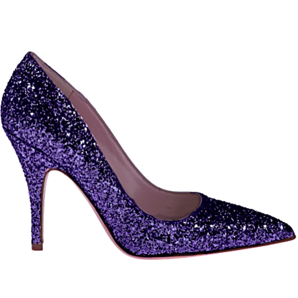 Women's Sparkly Glitter Heels Pointed Toe Pumps Shoes