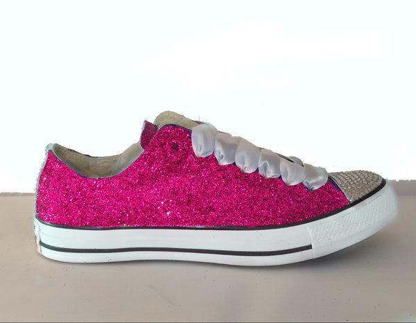 Women's Sparkly Pink Glitter Crystals Converse All Stars wedding bride bridal Shoes