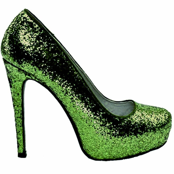 Women's Sparkly Hunter Green Glitter pumps heels wedding bride shoes