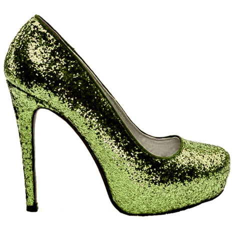 Women's Sparkly Sage Green Glitter pumps heels Summer wedding bride shoes
