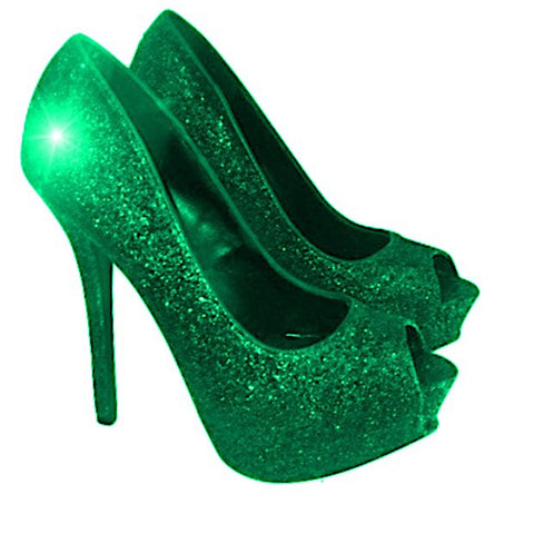 Women's Sparkly Forest Green Glitter Peep Toe pumps heels wedding bride shoes