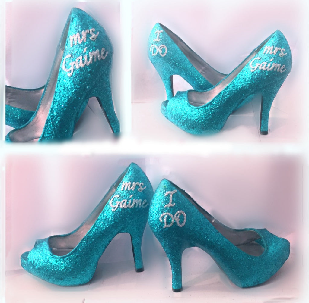 Sparkly Turquoise Teal Glitter high   low Heels wedding bride Peep toe or Pumps  shoes Personalized 4b2baf34a44f