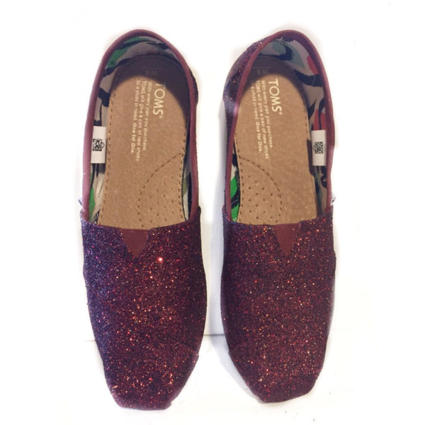 Womens Sparkly Glitter Toms Flats shoes bridal Bride Wedding Comfortable Burgundy Maroon Red Wine