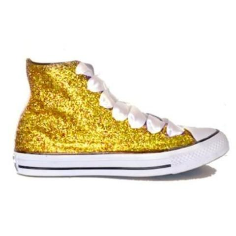 Womens Glitter Bling Crystals Converse All Stars Yellow Gold High Top Wedding Bride Prom Shoes