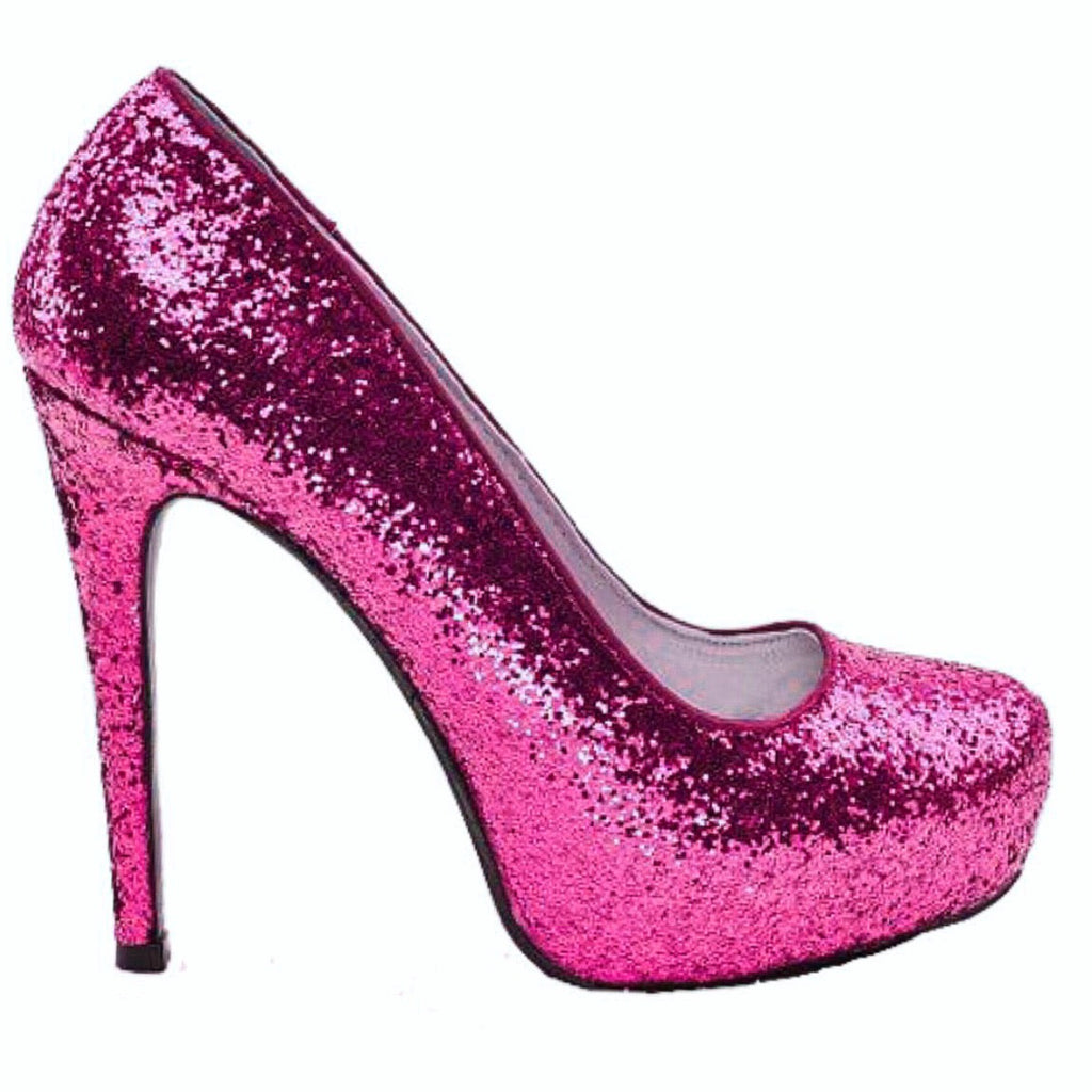 Women's Sparkly Hot Pink Glitter Pumps Heels Wedding bride Prom Shoes Barbie