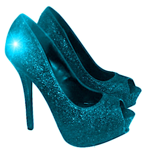 Women s Sparkly Teal Blue Glitter Peep Toe Pumps Heels Wedding bride Shoes 785621602eff