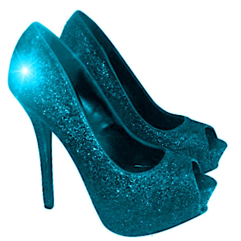 Women's Sparkly Teal Blue Glitter Peep Toe Pumps Heels Wedding bride Shoes