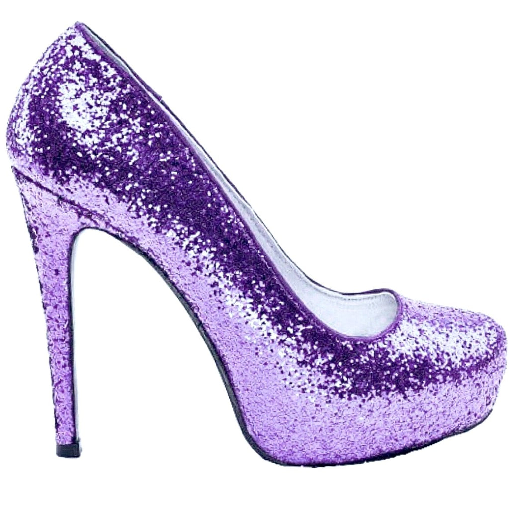 Women's Sparkly Lavender Purple Glitter Heels Pumps wedding bride shoes