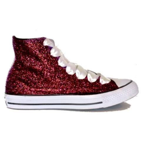 Sparkly Burgundy Maroon Glitter Converse All Stars High Top Wedding Bride Shoes sneakers