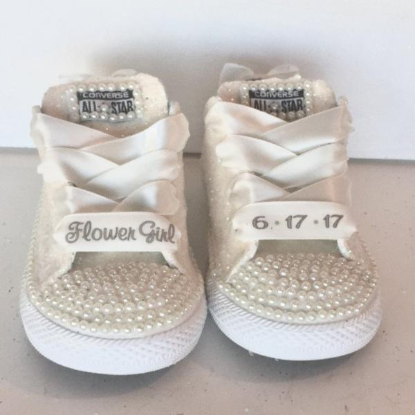Toddler girls White Converse All Star Sneakers 1st Birthday sparkly bling bow  shoes 537e921b6dd6