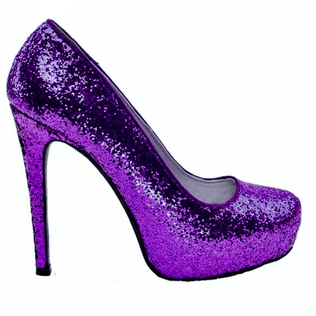 Women's Sparkly Purple Glitter high & low Heels Pumps wedding bride shoes Prom Bridesmaid