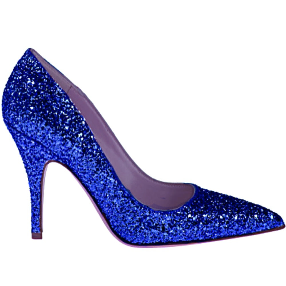Women's Sparkly Glitter Heels Pointed Toe Pumps Shoes - Royal Blue