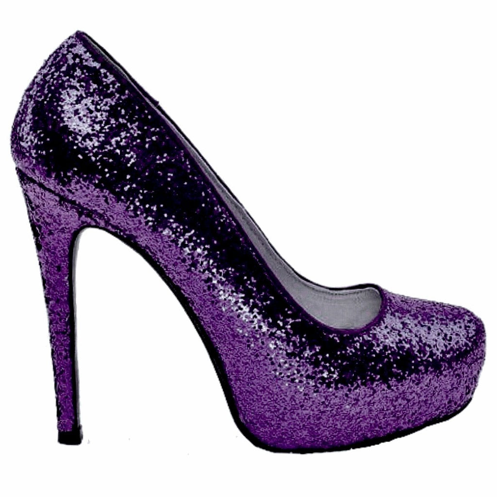 bd3f27defd2a Women s Sparkly Plum Dark Purple Glitter high or low Heels Pumps wedding  bride prom shoes