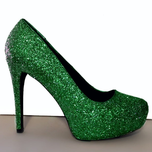 Women's Sparkly Hunter Green Glitter pumps heels Summer wedding bride shoes