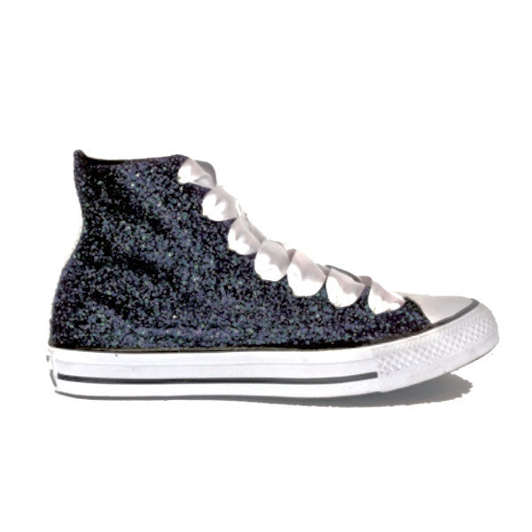 2627b409dc2c ... Women s Sparkly Black Glitter Converse All Stars high top wedding bride  shoes ...