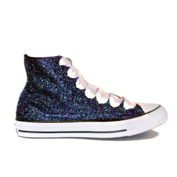 Women's Sparkly Navy Blue Glitter Converse All Stars high top wedding bride shoes