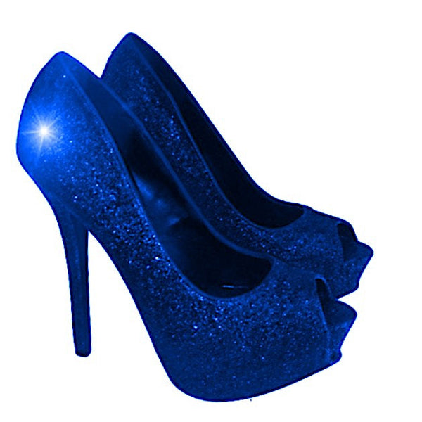 Sparkly Royal Blue Glitter Peep Toe Pumps high low Heels Wedding bride - Glitter Shoe Co