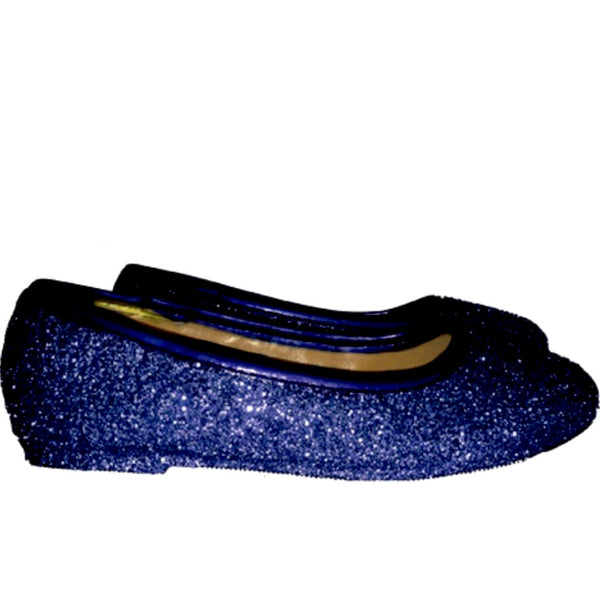 Sparkly Glitter Ballet Flats Shoes Birthday Flower Baby Girl Toddler Newborn Navy Blue