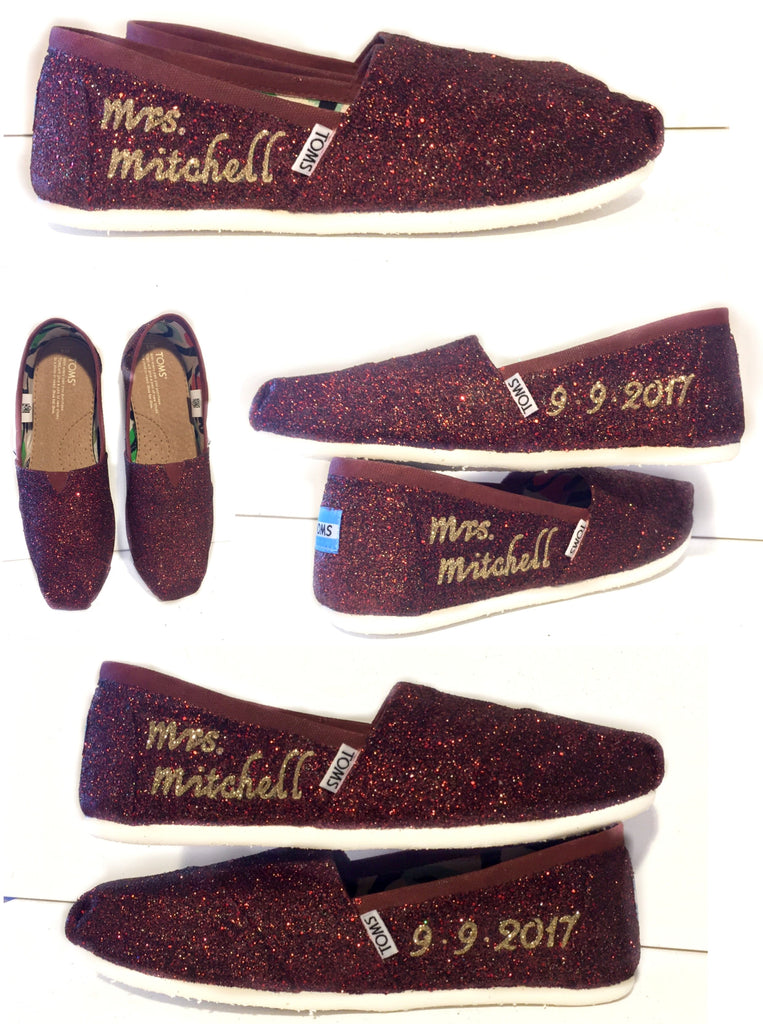 70097a6da94 ... Womens Sparkly Glitter Toms Flats shoes bridal Bride Wedding  Comfortable Burgundy Maroon Red Wine ...