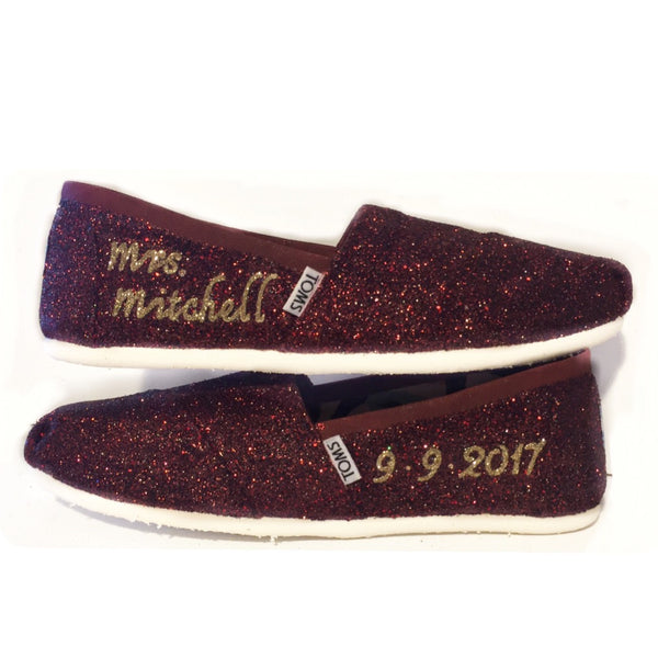 Womens Sparkly Glitter Toms Flats shoes bridal Bride Wedding Comfortable Burgundy Maroon Gold