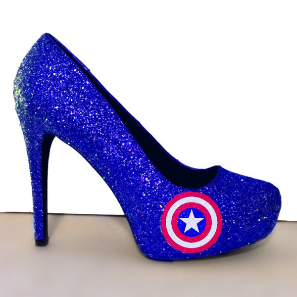 Women's Sparkly Super Hero Royal Blue Glitter Heels wedding bride shoes