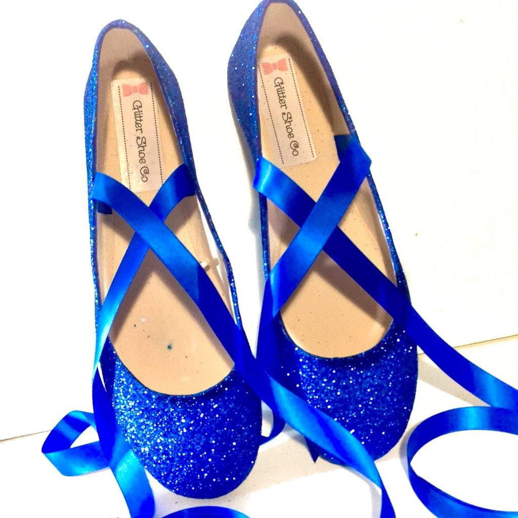 d566faaf6 ... Sparkly Royal Blue Glitter Ballet Flats shoes wedding bride Womens  Satin Tie up Bow ...