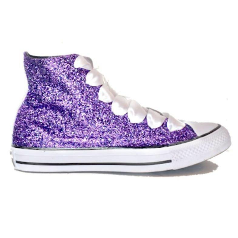 3a29b4fcdcad ... Sparkly Lavender Purple Glitter Converse All Stars High Top Wedding  Bride Prom Shoes sneakers ...