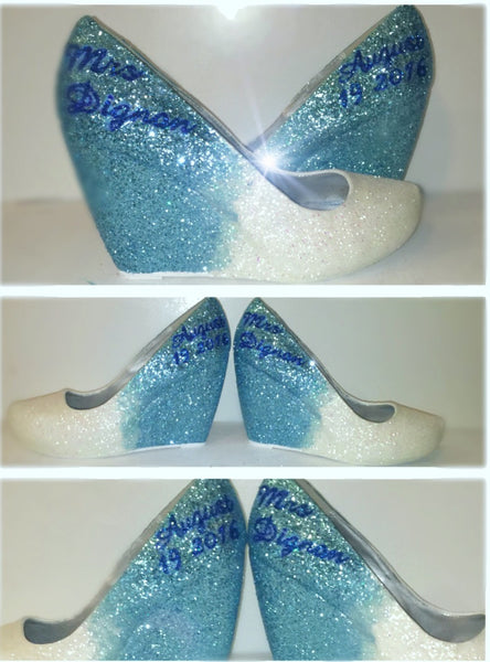 Sparkly White Baby Blue ombre Glitter wedge Heels wedding bride Peep toe or Pumps shoes Personalized - Glitter Shoe Co