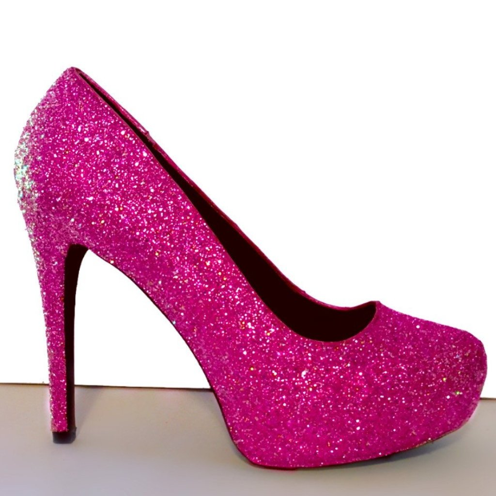 ... Womenu0027s Sparkly Hot Pink Glitter Heels Shoes Wedding Bride Barbie