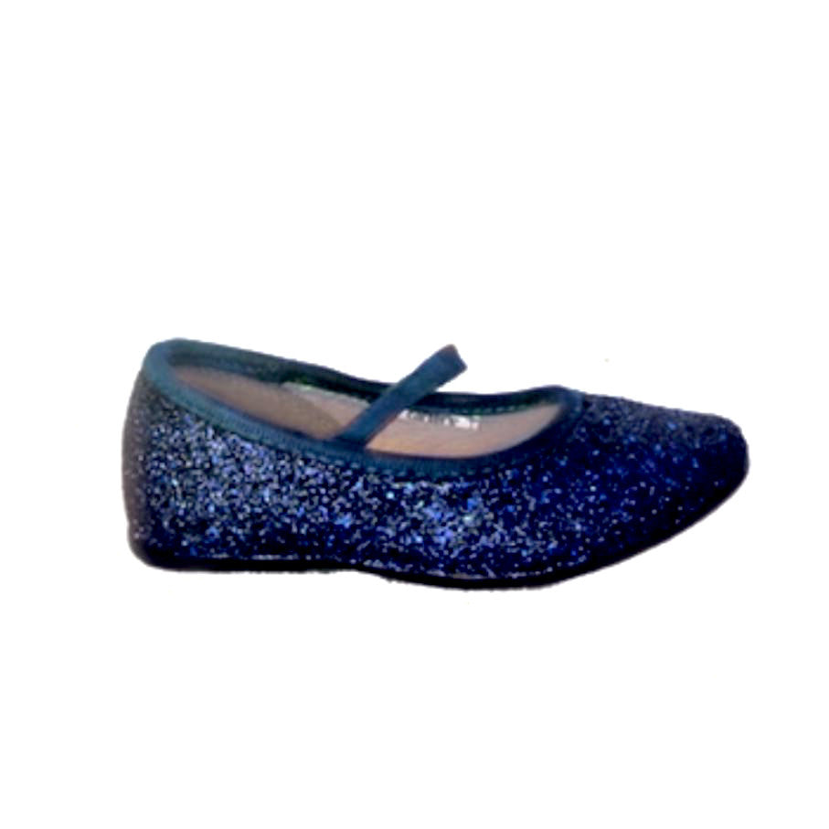 competitive price fb794 490c7 ... Sparkly Glitter Ballet Flats Shoes Birthday Flower Baby Girl Toddler  Newborn Navy Blue ...