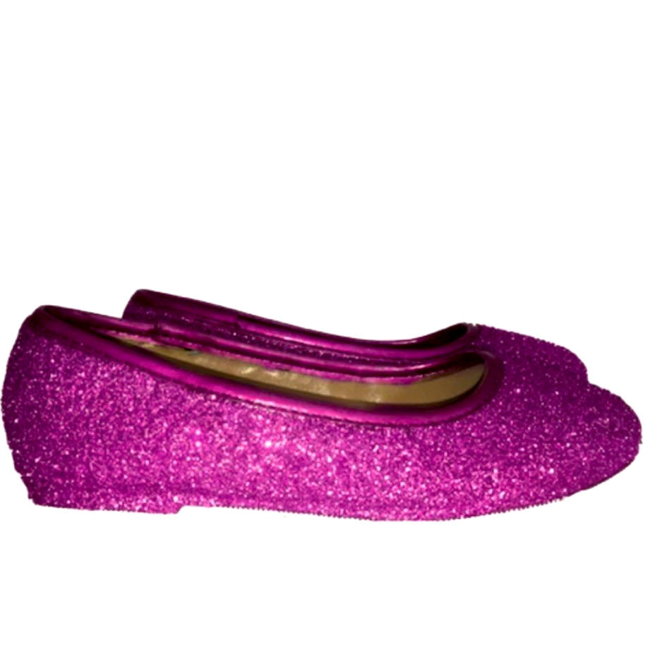 Sparkly Glitter Ballet Flats Shoes Flower Girls Toddler Pink Fucshia