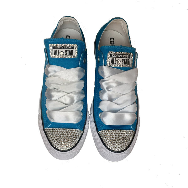 Women's Converse All Star Canvas Crystals Sneakers Shoes Teal Green Wedding Bride Gift