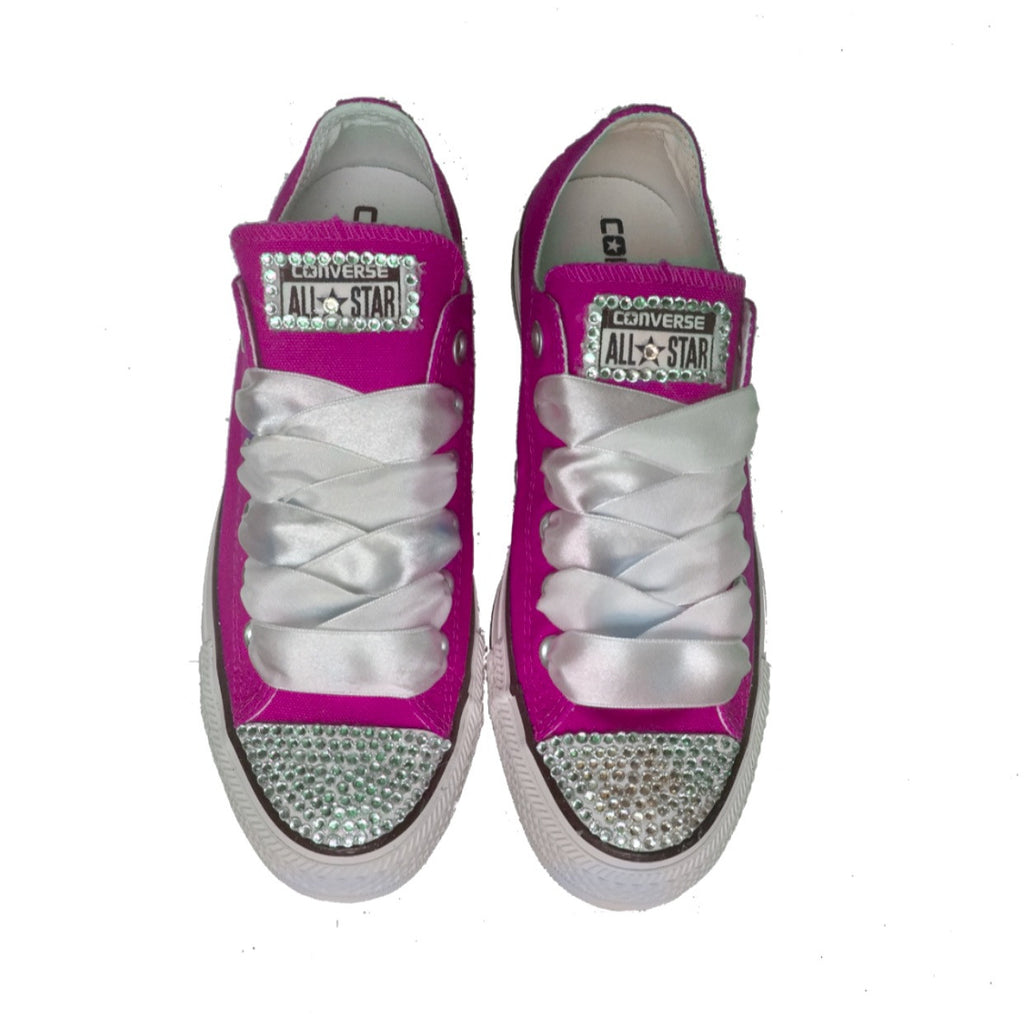 Womens Converse All Star Crystals Bling Sneakers Shoes Pink Wedding Bride