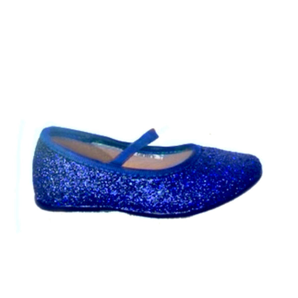 Sparkly Glitter Ballet Flats Shoes Birthday Flower Baby Girl Toddler Newborn Royal Blue