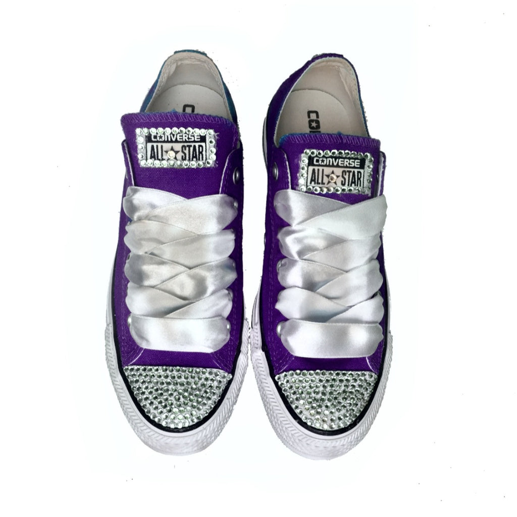 03862a64a1d0 Wedding Converse All Star Crystals Sneakers Purple Bride women s shoes –  Glitter Shoe Co