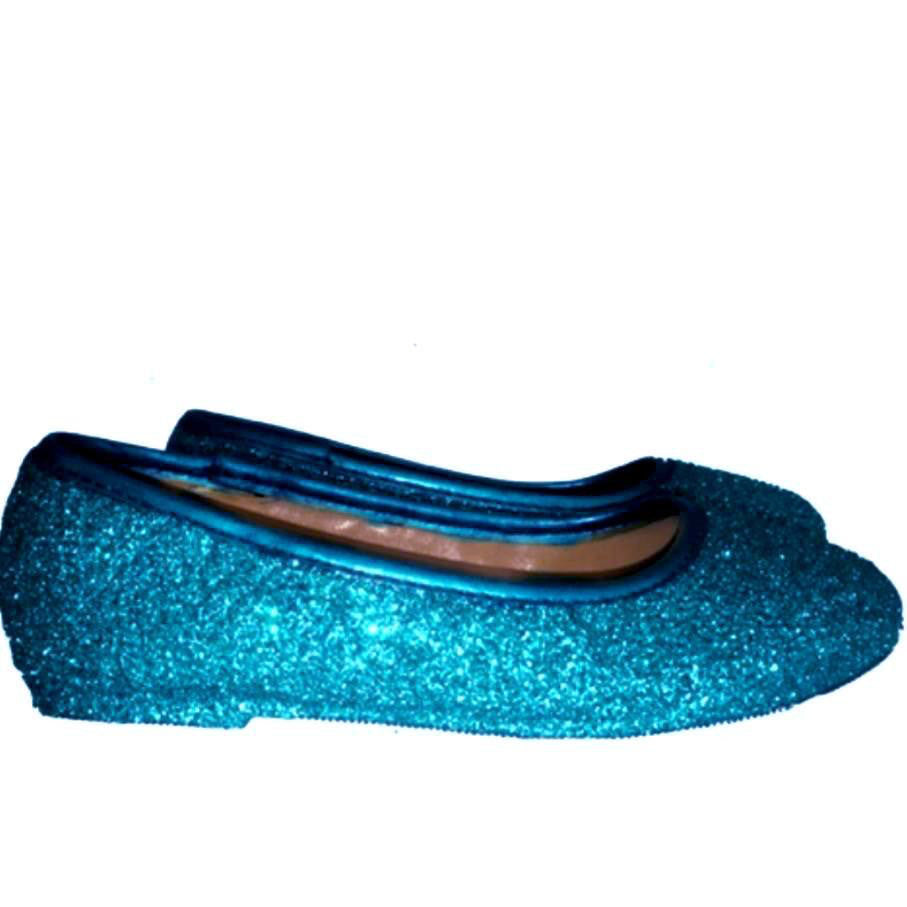 b9f377029 ... Sparkly Glitter Ballet Flats Shoes Birthday Flower Baby Girl Toddler  Newborn Teal